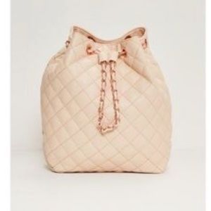 Quilted Chain Handle Backpack In nude color